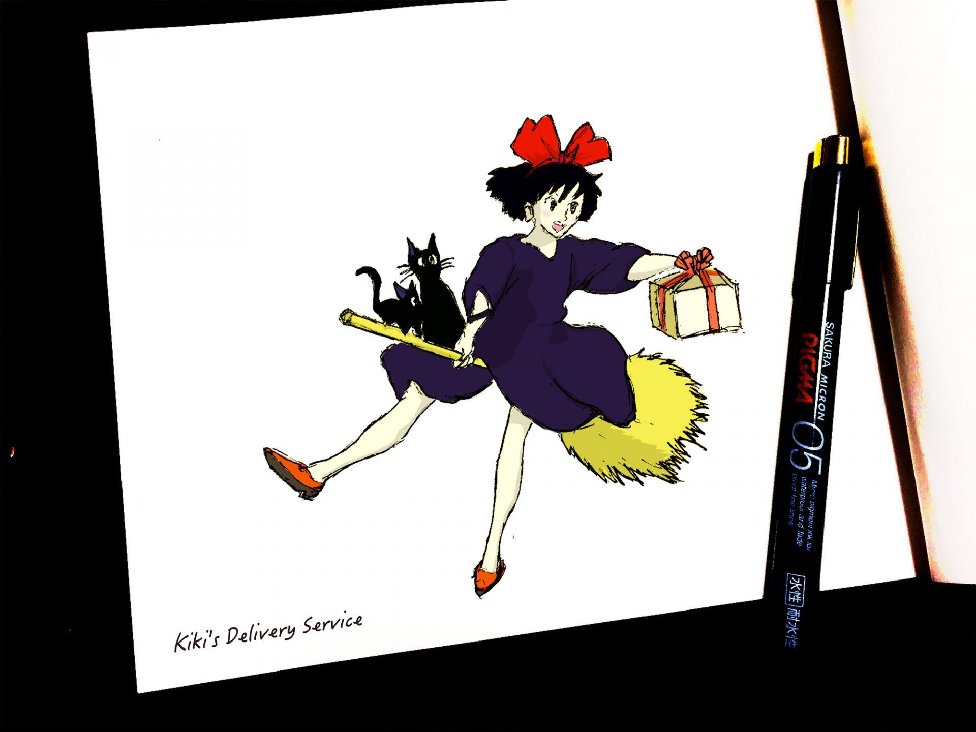 魔女の宅急便キキジジも描いてみました